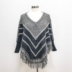 Listicle Mohair Poncho Graphic Pattern